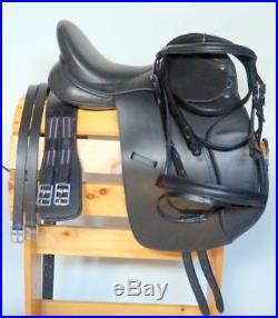 17 Black Leather Dressage English Saddle Package Bridle Girth Leathers & Irons