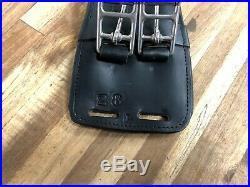 28 shaped black leather contour dressage girth