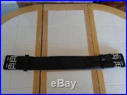 30 English Leather Elasticated Soft Padded Black Dressage Girth