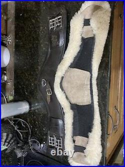 Brown Leather Fairfax Event Dressage Girth 22 Plus Le Meiux Sheepskin Cover