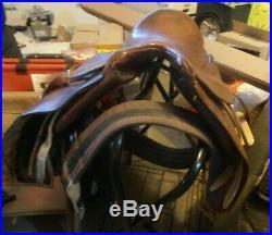Dressage English Leather Saddle with Stirrups and Girth