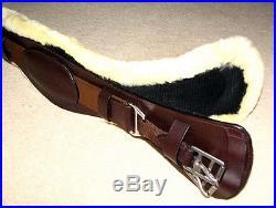 FSS German Leather SHEEPSKIN Humane Ergonomic Padded Dressage Girth BROWN