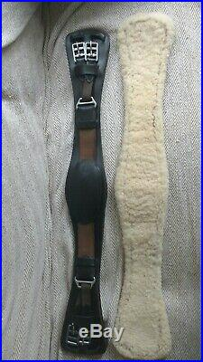 FSS Leather Humane Anatomic Comfort SHAPED Dressage Girth HAVANA, sheepskin and