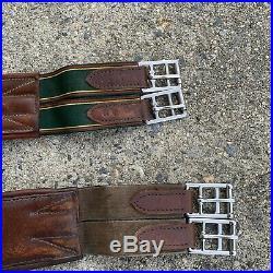 Lot Of 2 Vintage Jaguar Equestrian Dressage Girth 49 Brown Leather
