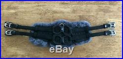 NEW Stubben Horse Equi-Soft Leather & Sheepskin Dressage Girth 34 BLACK/GREY