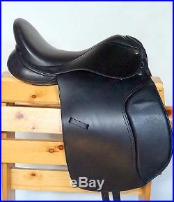 Premium Black Dressage Saddle 18 4pc Bridle Reins Leathers Girth Irons