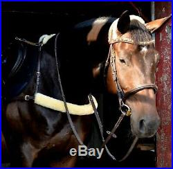 Racing breastcollar incl D-rings, genuine wool made in veg tanned leather