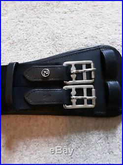 Rhinegold Anatomical leather dressage girth black 24 elastic both ends