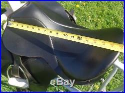 State Line Tack 17 Black Leather Dressage Saddle withFittings2 PadsGirthIrons
